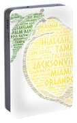 Citrus Fruit Illustrated With Cities Of Florida State Portable Battery Charger