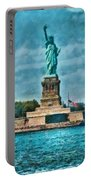 City - Ny - The Statue Of Liberty Portable Battery Charger