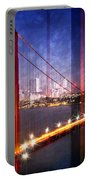 City Art Golden Gate Bridge Composing Portable Battery Charger by Melanie Viola