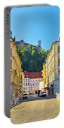 City Of Ljubljana View From Tromostovje Bridge Portable Battery Charger