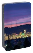 City Of Portland Oregon Skyline At Twilight Portable Battery Charger