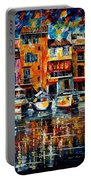 City Pier - Palette Knife Oil Painting On Canvas By Leonid Afremov Portable Battery Charger