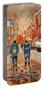 Cityscape In Winter Portable Battery Charger