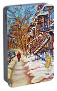 Cityscene In Winter Portable Battery Charger