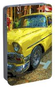 Classic 56 Chevy Car Yellow  Portable Battery Charger