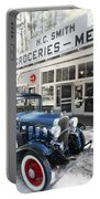 Classic Chevrolet Automobile Parked Outside The Store Portable Battery Charger