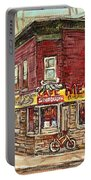 Classic Chinese Restaurant Montreal Memories Silver Dragon Canadian Paintings Carole Spandau         Portable Battery Charger