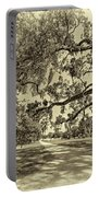 Classic Southern Beauty - Evergreen Plantation -sepia Portable Battery Charger