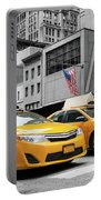 Classic Street View Of Yellow Cabs In New York City Portable Battery Charger