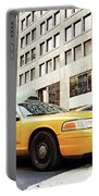 Classic Street View With Yellow Cabs In New York City Portable Battery Charger