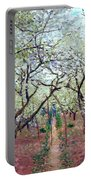 Claude Monet Orchard In Bloom Portable Battery Charger