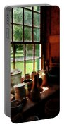 Clay Jars On Windowsill Portable Battery Charger