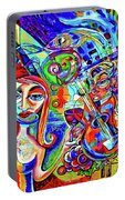City At Night Music And Wine Abstract Portable Battery Charger
