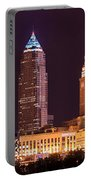 Cleveland Skyline Night Color - Downtown Buildings Portable Battery Charger
