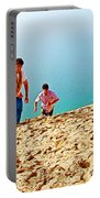 Climbing Up The Dune From Lake Michigan In Sleeping Bear Dunes National Lakeshore-michigan Portable Battery Charger