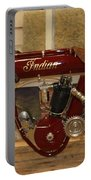 close up of red Indian motorcycle   # Portable Battery Charger