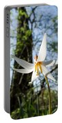 Close-up Of White Trout Lily Portable Battery Charger