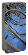 Close Up On Many Wheels From Bicycles  Portable Battery Charger