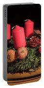 Closeup Of An Advent Wreath, Unlit Candles Portable Battery Charger