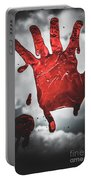 Closeup Of Scary Bloody Hand Print On Glass Portable Battery Charger