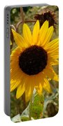 Closeup Of Sunflower In Farm Portable Battery Charger