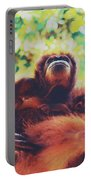 Closeup Portrait Of A Wild Sumatran Adult Female Orangutan Climbing Up The Tree And Holding A Baby Portable Battery Charger