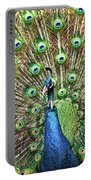 Closeup Portrait Of An Indian Peacock Displaying Its Plumage Portable Battery Charger