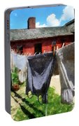 Clothes Hanging On Line Closeup Portable Battery Charger