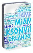 Cloud Illustrated With Cities Of Florida State Portable Battery Charger