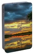 Cloudy Lake Sunset Portable Battery Charger