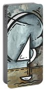 Coastal Art Contemporary Sailboat Painting Whimsical Design Silver Sea I By Madart Portable Battery Charger