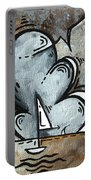 Coastal Art Contemporary Sailboat Painting Whimsical Design Silver Sea II By Madart Portable Battery Charger