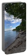 Coastal Maine's Rocky Shore On A Beautiful Summer Day Portable Battery Charger