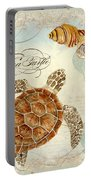 Coastal Waterways - Green Sea Turtle Rectangle 2 Portable Battery Charger