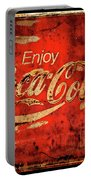 Coca Cola Square Aged Texture Black Border Portable Battery Charger
