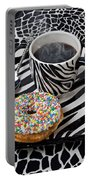 Coffee And Donut On Striped Plate Portable Battery Charger