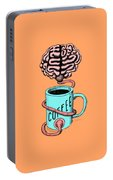 Coffee For The Brain Funny Illustration Portable Battery Charger