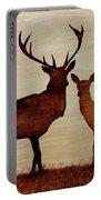 Coffee Painting Deer Love Portable Battery Charger by Georgeta  Blanaru