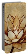 Coffee Painting Water Lilly Blooming Portable Battery Charger by Georgeta  Blanaru