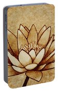 Coffee Painting Water Lilly Blooming Portable Battery Charger