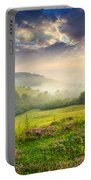 Cold Fog In Mountains On Forest At Sunset Portable Battery Charger