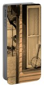Cold Point Village Station - Banjo Mandolin In Sepia Portable Battery Charger
