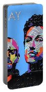 Coldplay Band Portrait Recycled License Plates Art On Blue Wood Portable Battery Charger