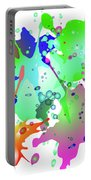Colored Splashes On A Blue Background Portable Battery Charger