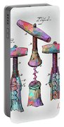 Colorful 1883 Wine Corckscrew Patent Portable Battery Charger by Nikki Marie Smith