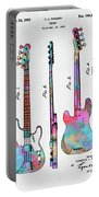 Colorful 1953 Fender Bass Guitar Patent Artwork Portable Battery Charger by Nikki Marie Smith