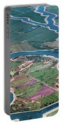 Colorful Aerial Of Commercial Farmland In Stockton - Medford Island - San Joaquin County, California Portable Battery Charger
