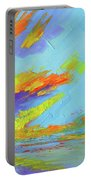 Colorful Beach Sunset Oil Painting  Portable Battery Charger by Patricia Awapara
