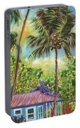 Colorful Blue Hawaiian Plantation House With Red Tin Roof And Sw Portable Battery Charger