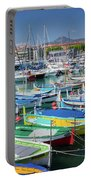 Colorful Boats Docked In Nice Marina, France Portable Battery Charger